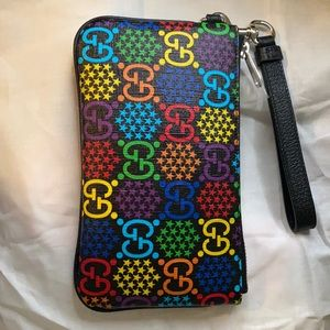 GUCCI leather GG Psychedelic canvas Wristlet